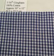 1/16th Tiny Blue and White Gingham Cotton Lawn