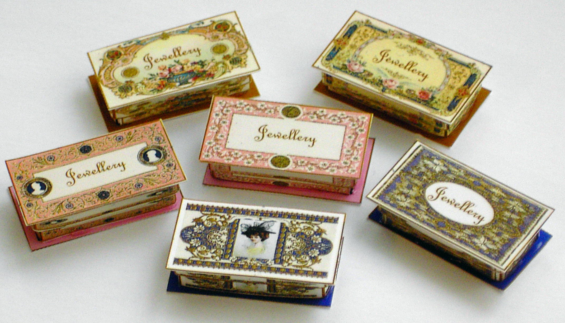 Miniature Jewellery Boxes kit (6pc) - Click Image to Close